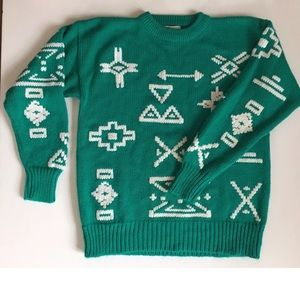 Vintage Aztec Native American Sweater Teal Aqua M